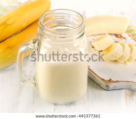 Fresh made Banana smoothie. Selective focus