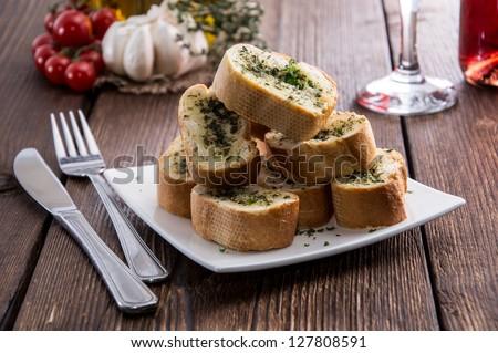 Fresh made Garlic Bread pieces - stock photo