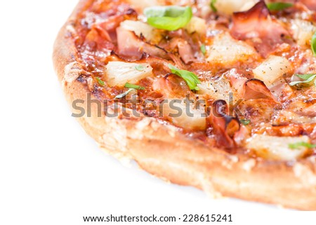 Fresh made Ham and Pineapple Pizza isolated on white background