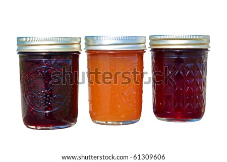 fresh made jam and jelly isolated on white - stock photo