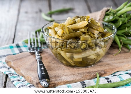 Fresh made Portion of Green Beans salad - stock photo