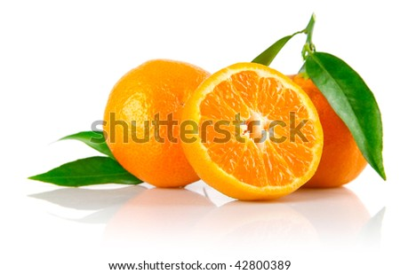 fresh mandarin fruits with cut and green leaves isolated on white background - stock photo
