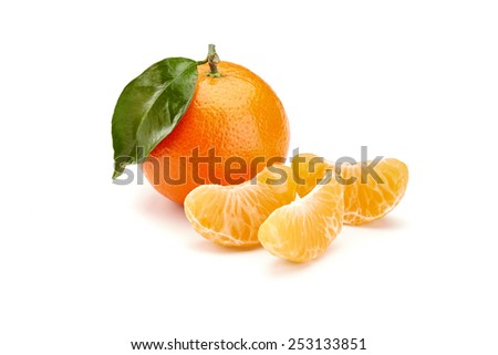 fresh mandarines isolated on white background