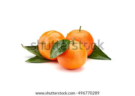 fresh mandarines with leaves isolated on white background