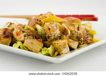 Fresh Mango and Grilled Chicken Salad - stock photo