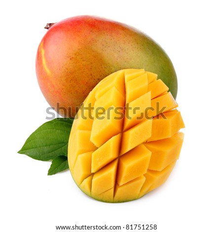Fresh mango fruit with cut and green leafs isolated on white background - stock photo