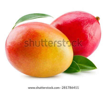 fresh mango isolated on white + Clipping Path