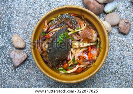 Fresh mango salad with crab , asian style food - stock photo