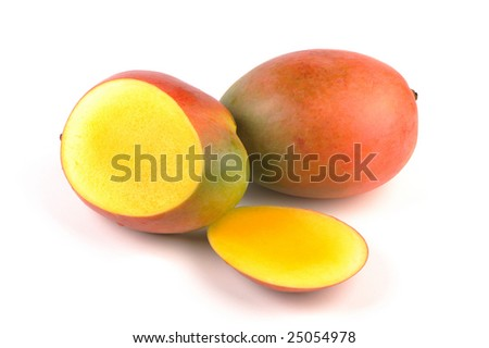 fresh mangoes isolated on white background
