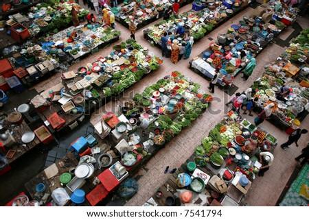 Fresh market in Kota Bharu, Malaysia. February 2006. - stock photo