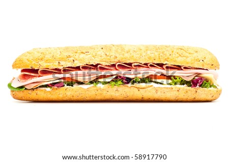 Fresh meat feast salad baguette isolated on white background - stock photo