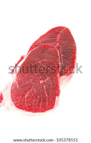 fresh meat : raw uncooked fat lamb pork fillet mignon loin isolated over white background - stock photo