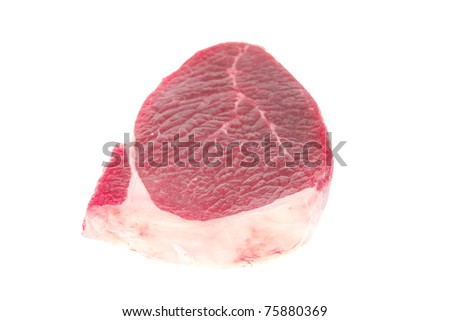 fresh meat : raw uncooked fat lamb pork fillet mignon loin isolated over white background . shallow dof - stock photo