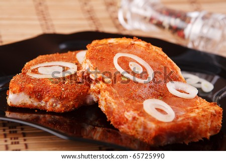 fresh meat with spices - stock photo