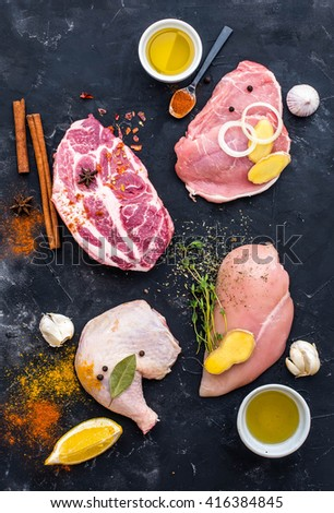 Fresh meat with spices for barbecue  - stock photo