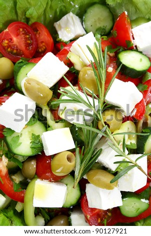 Fresh mediterranean salad with tomatoes, pepper and cheese, closeup - stock photo
