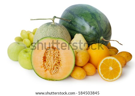 Fresh melons and fruits isolated on white background with clipping path. - stock photo