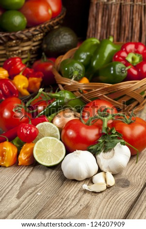 Fresh mexican vegetables on a wooden surface - stock photo
