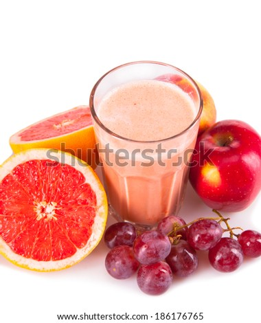 Fresh milk, grapefruit,apple and grape drink isolated on white background, assorted protein cocktail with fruits. - stock photo