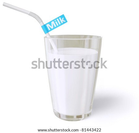 fresh milk in a glass beaker on a white