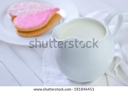 fresh milk in jug - stock photo