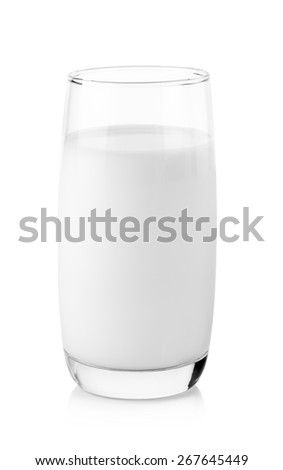 fresh milk in the glass on white background.