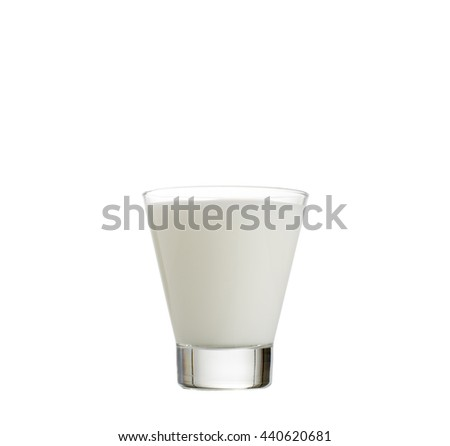 fresh milk in the glass on white background, isolated - stock photo
