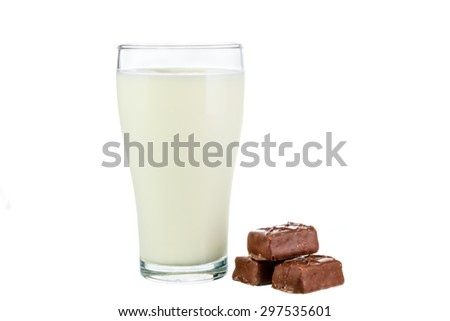 Fresh milk in the glass with chocolate bar on white background