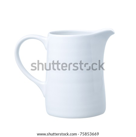 Fresh milk in the pitcher ready for your breakfast an image isolated on white  - stock photo