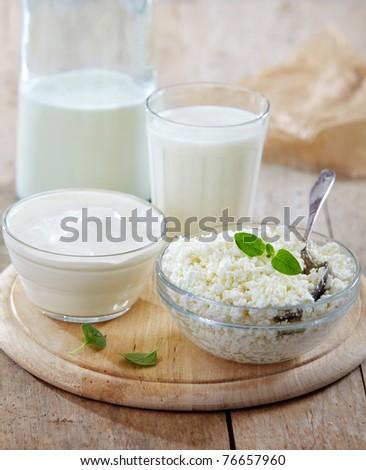 fresh milk products - stock photo