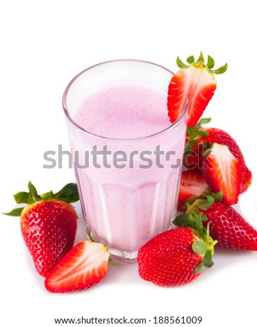 Fresh milk, strawberry drink isolated on white background, assorted protein cocktail with fruits.