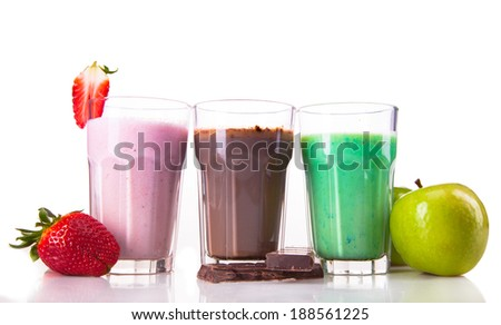 Fresh milk, strawberry, lime, apple and chocolate drinks isolated on white background, assorted protein cocktail with fruits.