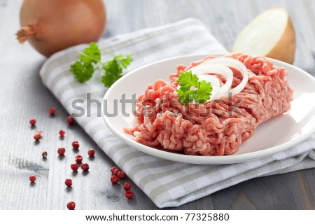 fresh minced meat with onions - stock photo