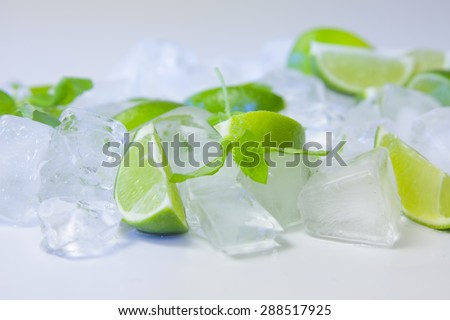 Fresh mint leaf, ice cubes and lime slices on white background - stock photo