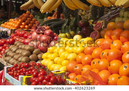 Fresh mix exotic fruit in a marketplace