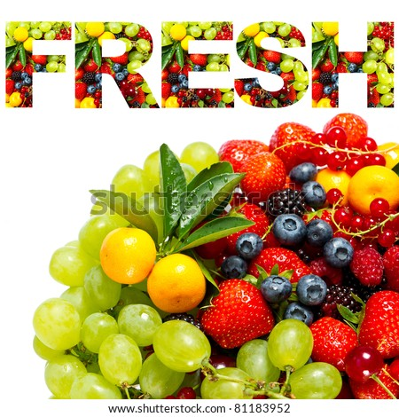 FRESH. mix of fruits and berries - stock photo