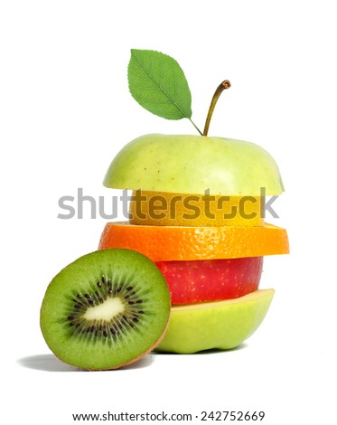 Fresh mixed fruit with green leaf - stock photo