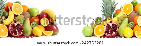 Fresh mixed fruits backgound both side - stock photo