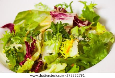 fresh mixed salad leaves - stock photo