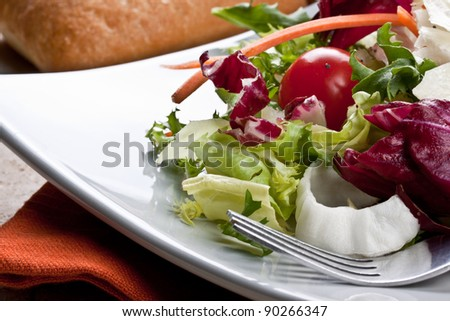 fresh mixed salad served on a plate - stock photo