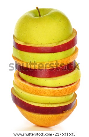 Fresh mixed slices of fruit in a row