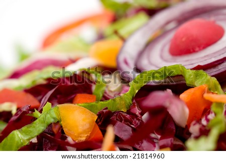 fresh mixed vegetable salad studio shots