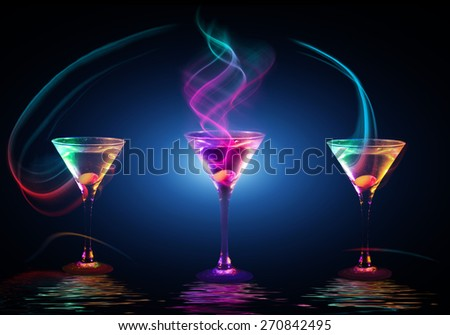 fresh modern coctail on the black background - stock photo