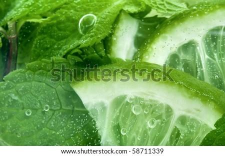 Fresh mojito cocktail close up extreme macro texture - stock photo