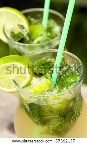 Fresh mojito cocktail in glass tumblers