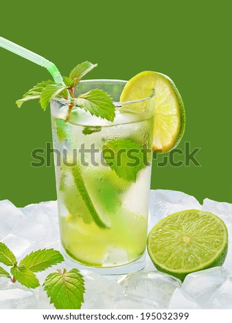 Fresh mojito cocktail on ice cubes. - stock photo