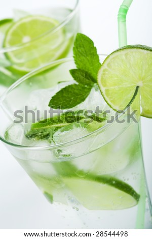 fresh mojito glasses - stock photo
