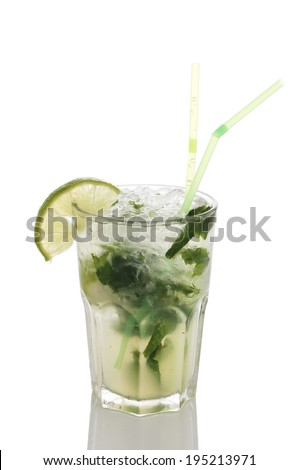 Fresh mojito in the sweaty glass on white background
