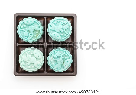 fresh moon cake on white background
