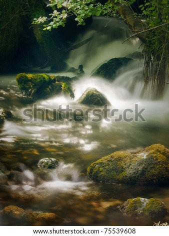 fresh mountain spring - stock photo